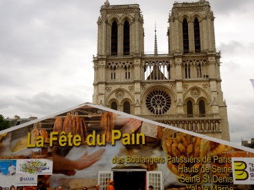 Our walking tour of the city took us to Notre Dame... which had a bread party going on in front of it. Literally.