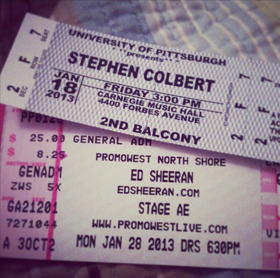 Ed Sheeran concert next week and Stephen Colbert is coming to Pitt!