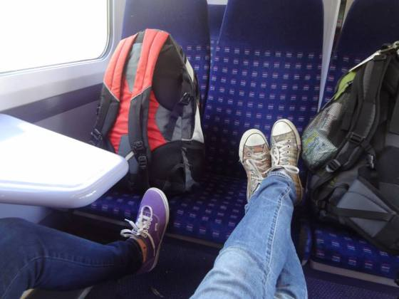I can't find any pictures of the English countryside, so here's one of us ON the train. HOW EXCITING!