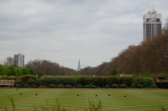 A bocce games with the London Eye and the Shard in the distance