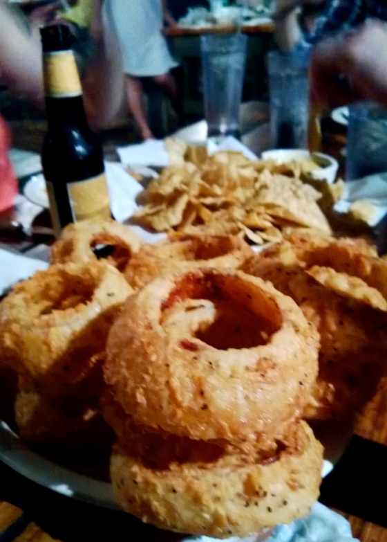 No, it's not a large; it's a TEXAS-SIZED order of onion rings. I dare you to finish that and live.